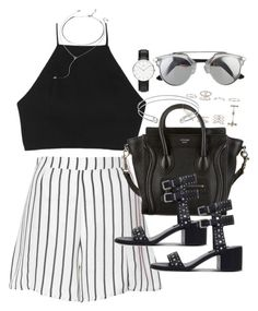 """""""Outfit for summer with striped shorts"""" by ferned on Polyvore featuring New Look, Glamorous, rag & bone, CÉLINE, Senso, Edge of Ember and Forever 21"""