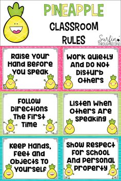 Cute and simple rules for your classroom with a pineapple theme.