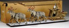 EXTRAORDINARY 29 Inch FATHER CHRISTMAS IN SLEIGH WITH FOUR REINDEER. - Sold for $8625.00. Antique Christmas, Christmas Past, Vintage Christmas Ornaments, Father Christmas, Vintage Holiday, Christmas Holidays, German Christmas, Christmas Design, Christmas Decorations