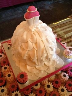 wedding shower dress cake  This is a grown up version of the doll cakes I used to have for birthdays as a young girl. I love it!!!