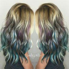 New hair ombre teal blondes ideas Green Hair, Blue Hair, Blonde Hair With Purple Highlights, Teal And Purple Hair, Black Highlights, White Hair, Look 2018, Dye My Hair, 4c Hair