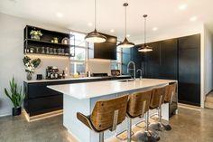 a black and white modern kitchen - KMD Kitchens Auckland Kitchen Manufacturers, Black And White, Beautiful Kitchens, Kitchen Space, Kitchen, New Kitchen, White Modern Kitchen, Renovations, Kitchen Renovation