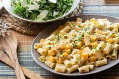 Recipe: Goat Cheese & Butternut Squash Pasta with Arugula & Shaved Parmesan Salad - Blue Apron Mint Recipes, Healthy Recipes, Goat Cheese Pasta, Butternut Squash Pasta, Baked Squash, Pasta Salad Recipes, The Fresh, Fresh Mint, Caramelized Onions