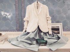 like the sea @nomablue #eggshop #eggtrading #silk #taffeta #paleblue #buttons #skirt #corset  #ss18 #springsummer2018
