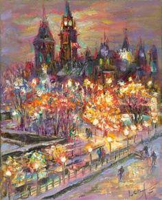 Ottawa Glow - Framed Fine Art Original Painting on canvas, by world renowned artist Elena Khomoutova