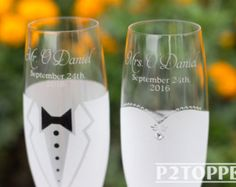 Items similar to Wedding Glasses; Set of 2 hand decorated Champagne Glasses for bride and groom or Bridesmaids on Etsy
