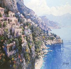 The Amalfi Coast - Limited Edition Hand Embellished Giclee on Canvas by Howard Behrens (1933-2014)