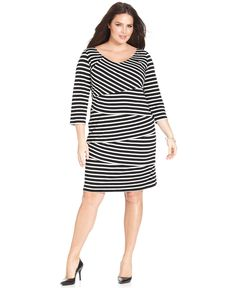7f8f9aa225c NY Collection Plus Size Three-Quarter-Sleeve Striped Tiered Dress Plus Sizes  - Dresses - Macy s
