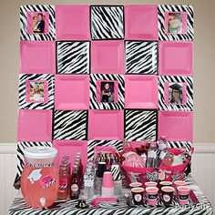 Cool idea for any party: paper plates in your 'theme/color' attached to sturdy poster board and pictures centered in some. Have guests write on the open squares. - Party City in teal not pink Zebra Print Party, Pink Zebra Party, Pink Parties, Grad Parties, Birthday Parties, Bachelorette Parties, Graduation Party Planning, Graduation Party Favors, Graduation Ideas