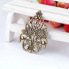 Retail 5Pcs Bronze Tone Filigree Wraps Flower Connectors Metal Crafts Gift Decoration DIY Findings 4.8x3.5cm