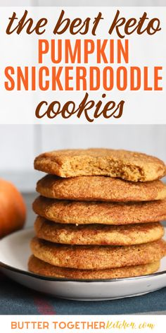 Low Carb Sweets, Low Carb Desserts, Low Carb Recipes, Dessert Recipes, Dinner Recipes, Breakfast Recipes, Keto Cookies, Chip Cookies, Pumpkin Snickerdoodle Cookie Recipe
