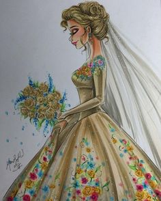"""Cinderella is finished!! Can I get a high five for adding some """"lavenders"""" in her bouquet?!?! Definitely the quickest coloring I've ever done, I wanted to keep that """"rough but elegant"""" feel at the same time ❤️ It's nice to have a break from the glitter and to show you guys that I enjoy and love to do things other than just those drawings and it warms my heart seeing that you enjoyed this just as much #cinderella #cinderella2015 #bouquet #weddingdress #weddingday #floral #disney #..."""