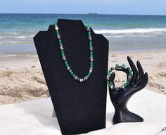 Necklace and Bracelet Set // Green Jade // Black Zebra Stone
