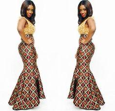 Ankara Styles : Butterfly Long Slim Gown