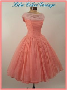 50s/60s Coral Pink Chiffon Prom/Party Dress
