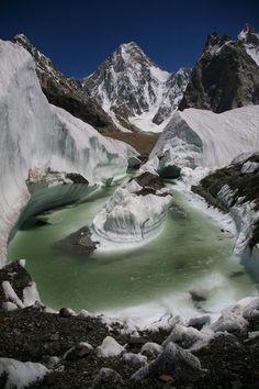 Een gletsjer in Nepal.