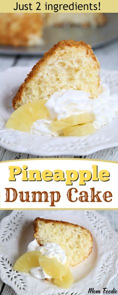 Pineapple Dump Cake - This easy Crushed Pineapple Dump Cake Recipe is sure to become a favorite. With just two ingredients that are easily stored in the pantry, you will always have the ingredients on hand to make this moist and delicious pineapple angel food dump cake.