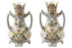 French Rouen Ware Faience Vases, Pair on OneKingsLane.com