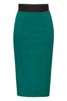 Emerald Green Wool-Blend Pencil Skirt with Black Waist by L'WREN SCOTT | Luxury fashion online | STYLEBOP.com