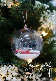DIY snow globe ornament car with bottle brush tree