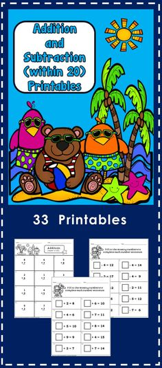 33 No Prep Printables - addition and subtraction within 20