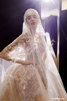 Bringing the ancient & ethereal legacy of lace and tulle veiling into the modern bridal world [Elie Saab Haute Couture wedding dress, Spring 2013 Collection]