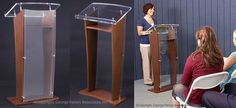 """Wood Podium with Clear Acrylic Front Panel and Reading Surface, 48.75"""" Lectern with Wood Veneer with Brown Mahogany Finish and Silver Accents"""