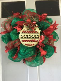 Traditional Red and Green Christmas Ornament WREATH - pinned by pin4etsy.com