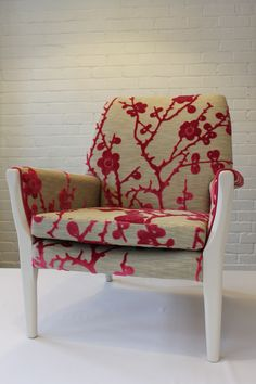 Curious Upholstery project - Old Parker Knoll chair, restored and re-covered in a lovely cherry blossom fabric. One of favorites and one I am most proud of.