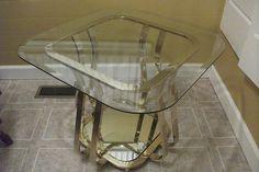 Vintage Brass Glass Coffee Table Mid Century Modern Mirror Square Side Card   eBay