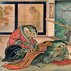 [New] The 72 Best Home Decor Ideas Today (with Pictures) - Have you ever seen a frog making a tattoo on another frog's back? All about japanese culture art & style! Japanese Drawings, Japanese Artwork, Japanese Tattoo Art, Japanese Tattoo Designs, Japanese Painting, Japanese Prints, Japan Illustration, Art Asiatique, Japanese Folklore