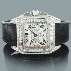 Custom Cartier Mens Diamond Watch 9.64ct Santos 100