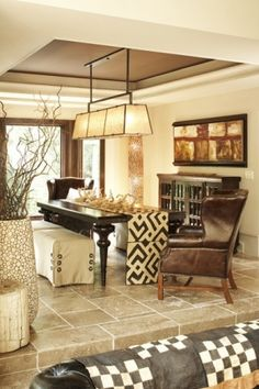 Beau Flooring For Game Room, Family Room And Dining Room Inlay   Kuba Cloth As  Table Runner