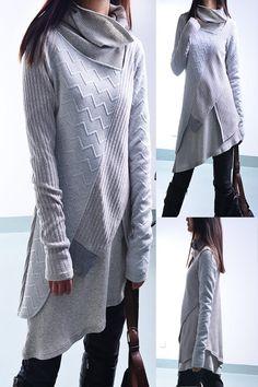 Mon zen - déconstruit robe couches tricot tunique / boho asymétrique tunique robe tunique en coton de côte tunique pull minimalisme (Y1221)