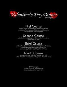 Need a way to impress your significant other? Wine & dine them at Eclipse Restaurant at the Moonrise Hotel! Valentines Day Dinner, Valentine Special, Eclipse Restaurant, Restaurant Specials, Dinner For 2, Area Restaurants, Course Meal, Champagne, Menu