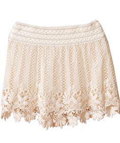 Cream Crochet Lace Short Skirt