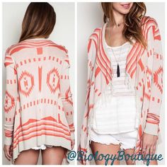 "Frayed Tribal Print Kimono Sweater Brighten up your day with this precious lightweight open front ivory cardigan with coral Aztec detailing. Fabrics: 55% cotton, 45% polyester.  ➖Fits true to size. ➖ Model is wearing size S. Model's height 5'8"", bust 33"", waist 24"", hips 35"".  ➖Sizes: Medium and Large ➖ Please do not purchase this listing. Comment below & I will create a custom listing for you! Sweaters Cardigans"