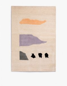 From Cold Picnic, a rectangular silhouette hand-tuffed high/low profile wool yarn rug with multi-color abstract rock pattern.