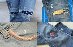 Creative Ways to Mend and Repair Clothes Using Embroidery - Beauty Tips Mickey Mouse Crafts, Dragon Fly Craft, Sashiko Embroidery, Embroidery Ideas, Embroidery Stitches, Cute Patches, Patched Jeans, Ripped Jeans, Sewing Hacks