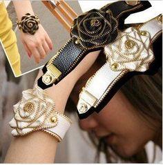 Unique hand-made Zip flower Bangle/bracelet