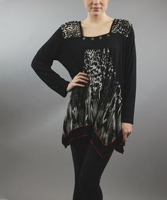 Look at this #zulilyfind! Black Leopard Patchwork Sidetail Tunic - Women & Plus #zulilyfinds