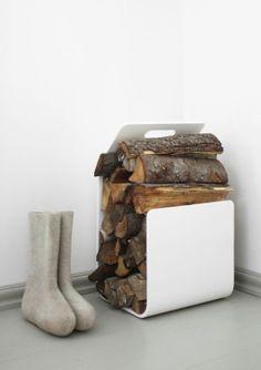 Kanto firewood rack by Artek, design Pancho Nikander Kiln Dried Firewood, Firewood Rack, Firewood Storage, Scandinavian Interior, Scandinavian Design, Living Room White, Living Rooms, Metal Structure, Nordic Design