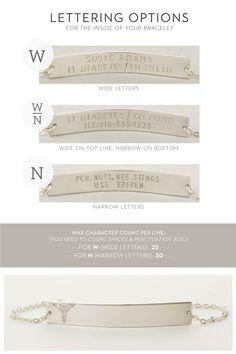 Simple Medical Alert Bracelet in Sterling Silver / Medical ID