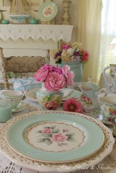 Beautiful vintage #teal  dishes    #country #cottage #mothers #day Tablescape
