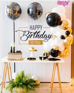 21st Birthday Decorations, 40th Birthday Parties, 20th Birthday, Husband Birthday, Man Birthday, Birthday Balloons, Gold Party, Backdrops For Parties, 18th