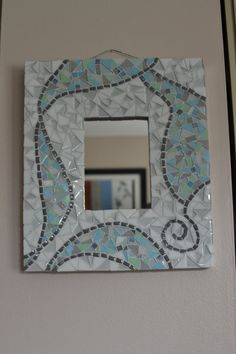 Grey blue and white mosaic mirror by AlteredMosaics on Etsy Mosaic Artwork, Mirror Mosaic, Mosaic Diy, Mosaic Crafts, Mosaic Projects, Mirror Art, Mosaic Glass, Glass Art Design, Mosaic Pictures