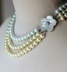 Mother of Pearl Triple Strand Pearl Wedding by whitetulipboutique, $48.00
