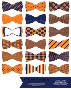 18 Orange Blue and White Printable Bowties! Glue them to toothpicks and stick them in treats on your dessert table or string them up as garland! $3.50 (Available in any color combination) #cupcaketoppers #tags #babyshower #invitation #birthday #wedding #decorations #dessert #table #bow #tie #diy #paper