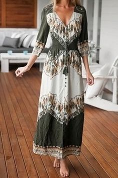 Bohemian Plunging Neck 3/4 Sleeve Spliced Printed Women's Dress