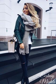 Cozy Green Leather JacketJacket by Zara , Scarf by Asos , Pullover Mit by Asos , Jeans by New Look Fashion Look by Luana Silva